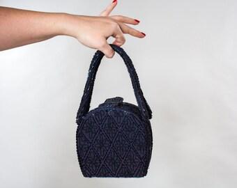 Vintage 1940s Blue Beaded Purse - Navy Carnival Glass - Box Bag