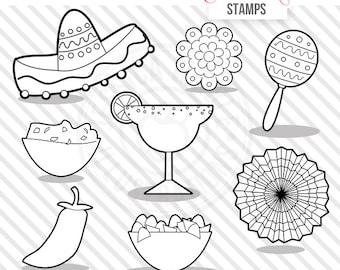 Fiesta Digital Stamps, Fiesta Blackline, Cinco de Mayo Digital Stamps, Fiesta Line Art, B&W Sombrero Line Art, Fiesta Digital Images, Maraca