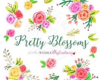 Pretty Blossoms Watercolor Clipart, Digital Watercolor Flower Clip Art, Floral Watercolour Clip Art, Hand Painted Bouquet Watercolor Flowers