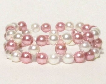 Rose and Ivory Glass Pearl Bracelet