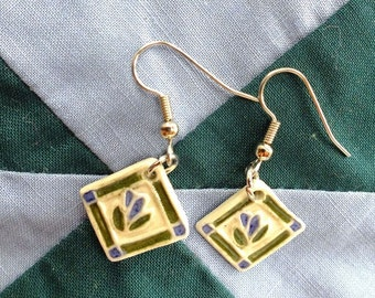 Patchwork with flowers, Porcelain Earrings