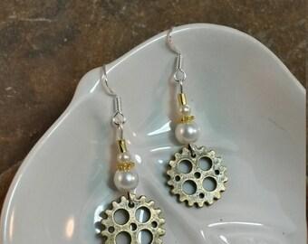 Gold Gear Sterling Silver Earrings, Gold Pearl Gear Sterling Silver Earrings, Gear Gold Earrings