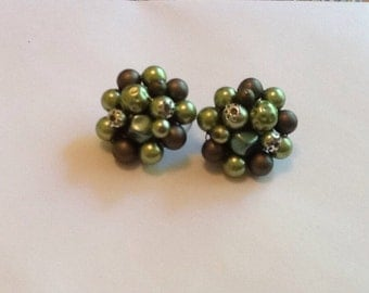Vintage Beaded Cluster Earrings Clipon Green Upcycle Beads