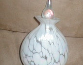 Vintage Art Glass  Iridescent Swirl Hand Blown White Perfume Bottle