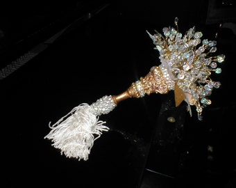 Vintage SWAROVSKI CRYSTAL Bridal Bouquet in a Tussy Mussy