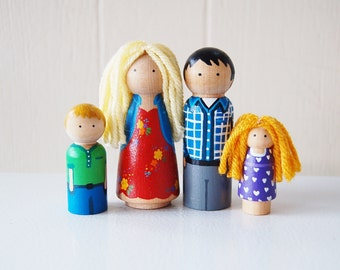 Our Family - Custom Family Wooden Dolls - Create a doll family to match your own - Doll House - Personalized Christmas Unique Gift  Stocking