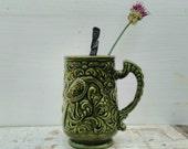 Vintage Portuguese Mug Pottery 60s Green Glaze Bird Retro Mud-Century Tea Mug Textured Design