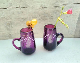 Pair of antique purple glass miniature cups