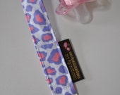 Baby Soother Pacifer Snap Clip in Cute Purple Pink Leopard Print and Purple Clip