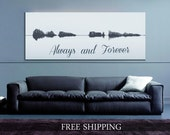 "Sound Wave Print ""Always and Forever"", A Custom Voice Message On Canvas 16x48"