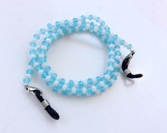 Eyeglasses holder chain Aqua blue crystals beads beautiful eyeglasses neck chain N7