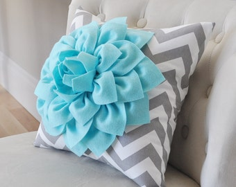 Aqua Dahlia on Gray and White Zigzag Pillow - Chevron Pillow -