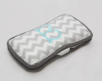 Personalized Wipes Case - Grey Chevron with Aqua