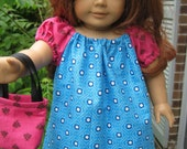 American Girl Peasant Dress, blue and hot pink dress with purse for 18 inch doll