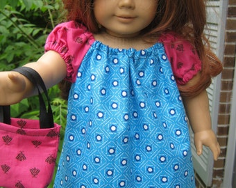 18 Inch Doll Peasant Dress, blue and hot pink dress with purse for 18 inch doll