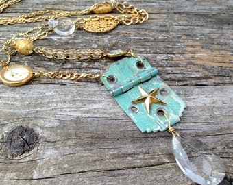 vintage hinge necklace | found objects | repurposed assemblage statement | marina necklace
