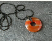 SALE Amber Agate Necklace Banded Donut Agate Pendant Natural Stone Gemstone Agate Jewelry Black Chain Layered Gift Best Friend Wife Daugther