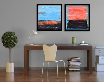 Abstract Paintings Set Of Two. 16x16 paintings on wood