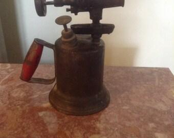 Vintage Brass Blow Torch Red Handle