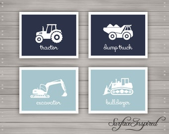 Nursery wall art print Construction Cars custom baby print - Unframed prints
