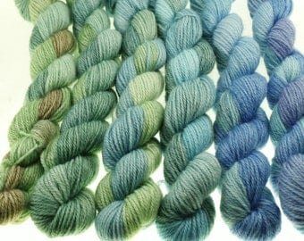 Mini Skein Set Hand Dyed Yarn Gradient Dyed - Low Kings - 600 yards