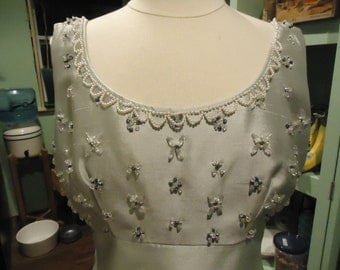 Vintage Pale Blue Evening Gown w/ Hand Beaded Bodice