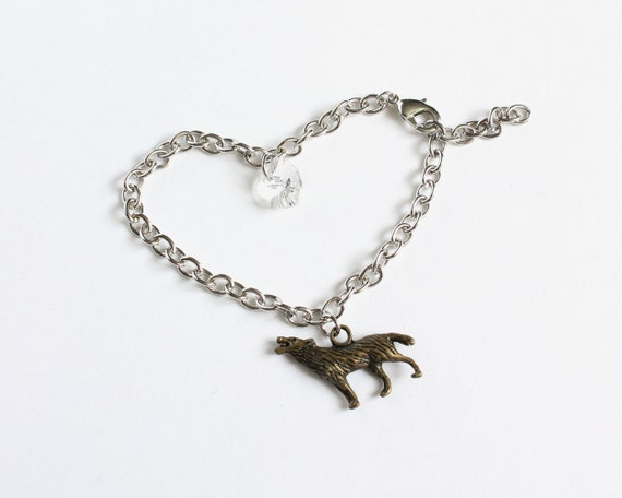 Wolf and Crystal Heart Bracelet