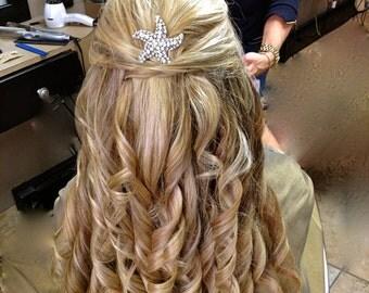 Rhinestone Hair Comb, Starfish Bridal Hair Comb, Vintage Style Hair Accessory, Wedding Hair Comb