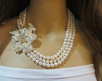 Bridal Pearl Necklace, Wedding Pearl Necklace