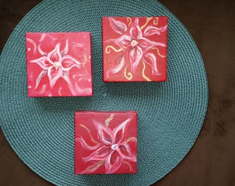 Small flower canvas paintings
