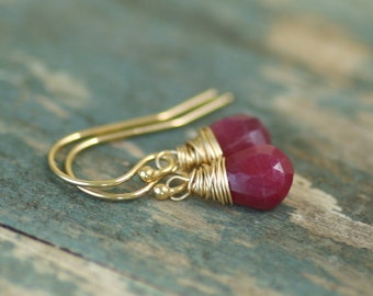 Ruby earrings gold dangle earrings, July birthstone jewelry, ruby jewelry, July birthday gift - Sarah