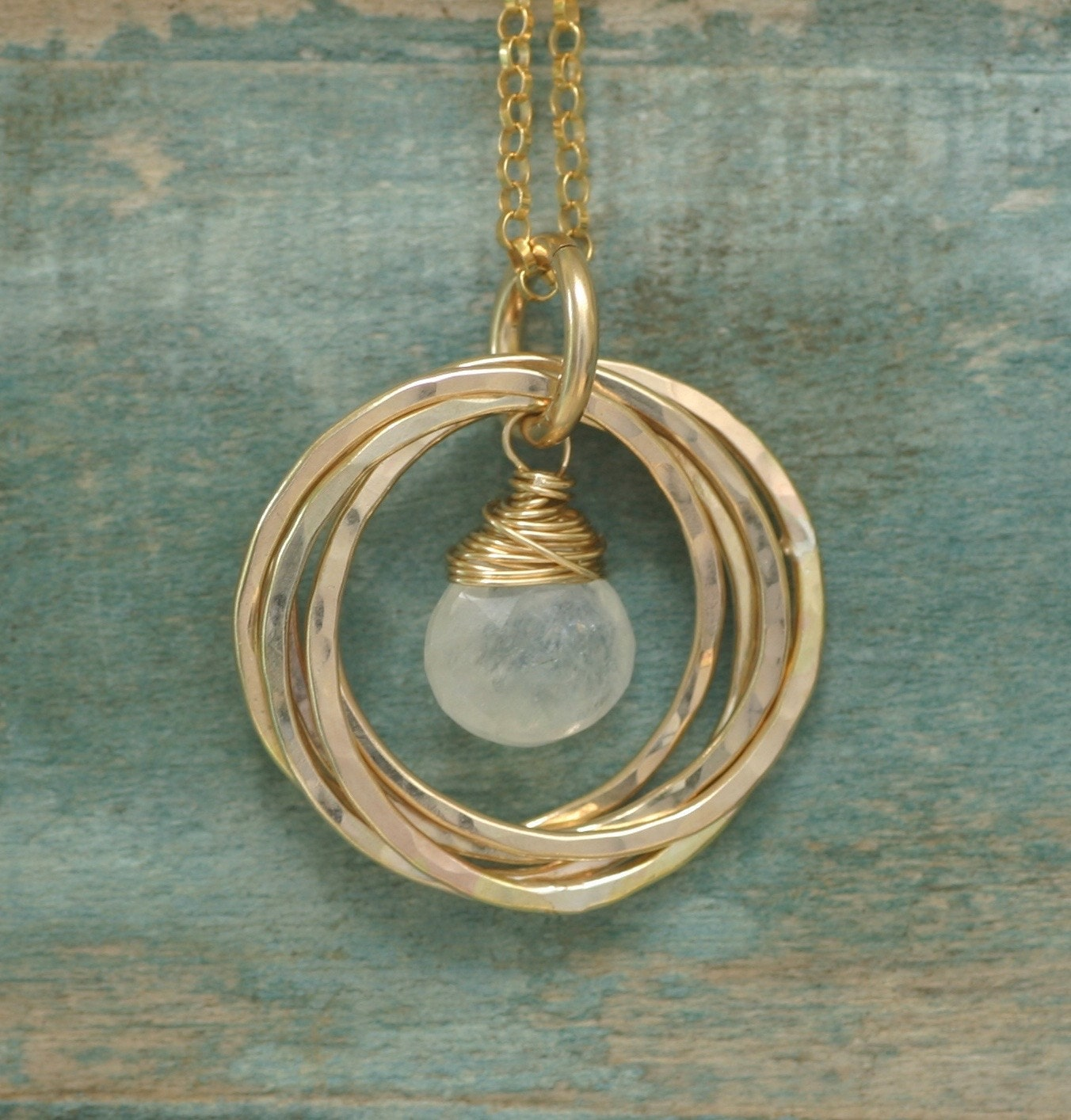 50th birthday gift moonstone necklace gold 5 year