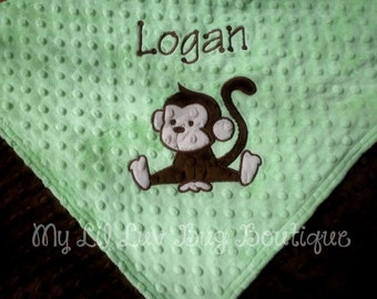 Personalized baby blanket- monkey baby blanket with name- light lime green and brown- 30x35 stroller blanket