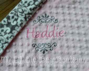 Personalized baby blanket- blush pink with charcoal grey and white damask- baby lovey blanket