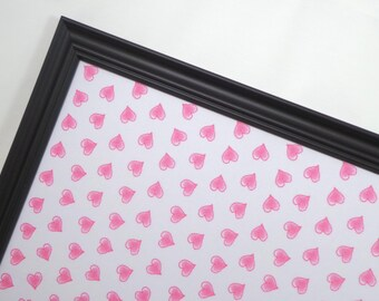 Wall Decor - Magnet Board - Magnetic Memo Board - Dry Erase Board - Framed Bulletin Board - Message Board -Pink Heart Design - incldes mgnts