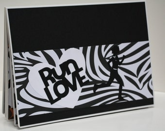 Zebra/Animal Print Runner's Race Bib Book - Run Love