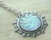 Czech Button Pendant Swirl Necklace Glass Button Necklace Sky Blue Jewelry Czech Glass Jewelry Button Jewelry Button Pendant Swirl Jewelry
