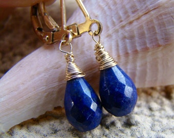 Petite Lapis Lazuli Earrings - Sterling Silver/Rose Gold/ oxidized sterling or Gold fill Earrings