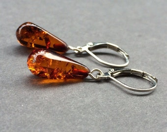 Baltic Amber Earrings. Sterling silver leverbacks