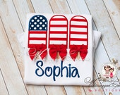Sale Patriotic Fourth of July Flag Popsicles Shirt with Bows - Custom Independence Day - Summer Personalized shirt