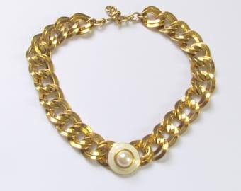 Gold Monet Necklace Double Link Chain White Cabachon