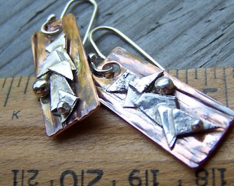 Artisan Copper and Sterling Silver .925 Earrings Abstract Rectangles