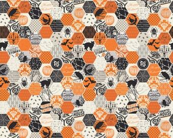 Happy Haunting from Riley Blake - Full or Half Yard Halloween Hexies Pumpkin Orange Halloween Fabric