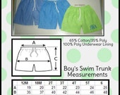 Swim Trunks - Lime Green or Turquoise