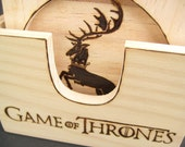 COASTER SET Game of Thrones, Wood Coaster Set of 6, Engraved Coasters, Square Coasters, Personalized Coasters, Wedding Gifts, Unique Gift