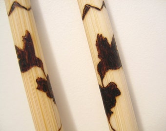 Hummingbirds bamboo chopsticks with pyrography art -Personalizable