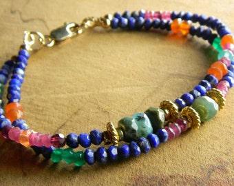 Boho Southwestern Jewelry Blue Bracelet Lapis Lazuli Gold Rustic
