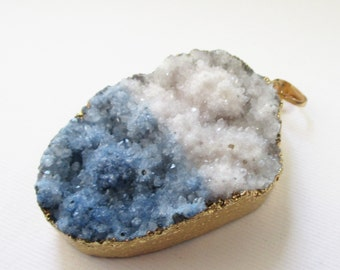 Multi color Druzy Pendant - Bio Color Druzy - Edged Dipped Gold - Large Blue White Teardrop - Natural Crystal Rough Surface - Diy Jewelry