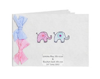 Custom New Baby Twins Girl and Boy Memory Book