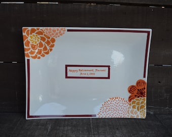 Custom Signature Guestbook Platter - Personalized with Modern Flowers - Double Border - Gold Orange Burgundy